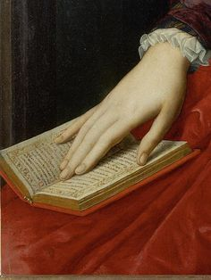 """""""Portrait of Lucrezia Panciatichi"""" (detail above), c. 1545. Agnolo di Cosimo (1503-1572), usually known as Il Bronzino, or Agnolo Bronzino, was an Italian Mannerist painter from Florence. His sobriquet, Bronzino, in all probability refers to his relatively dark skin."""