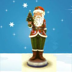 This Nutcracker stands 6 ft tall and has a moveable nutcracker mouth. Eye hooks are provided for securing piece outdoors. Tree illuminates.  For indoor or outdoor use. $1,799.00 http://www.christmasnightinc.com/c291/Santa-Nutcracker-6-ft-Tall-Jim-Shore-Collection-p1560.html#