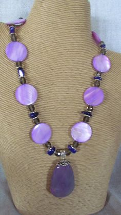 Purple mother of pearl necklace with purple agate by yasmi65, $30.00