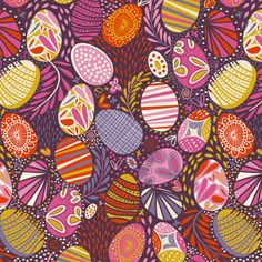 """Easter Joy ! fabric by demigoutte. this'll be the winner of """"painted eggs"""" It's got palette and design."""