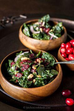 Cranberry Walnut Kale Salad with Fresh Cranberry Vinaigrette