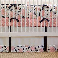 Coral and Navy Floral Crib Skirt #carouseldesigns