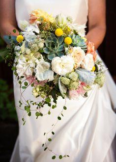 yellow white and succulent bouquet #gardenbouquet #weddingflorals #weddingchicks http://bit.ly/1gBTpFl