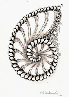 pattern, conch shell, zentangle shells, shelli beauch