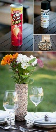 Rustic rock vase made from a Pringles box