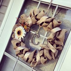 Fall burlap wreath #diy #wreath #fall