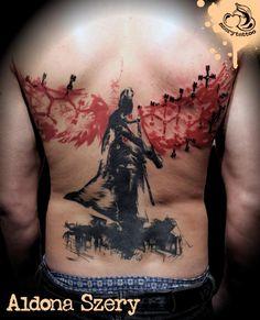 Sick tattoo on the back done by Aldona Szery at Szerytattoo . Polish Tattoo Scene. #tattoo #tattoos #ink