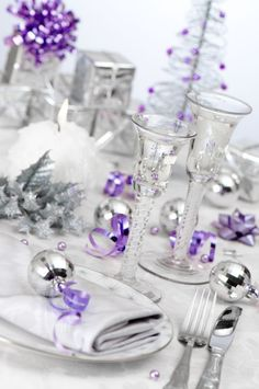 Gorgeous silver and crystal christmas table purple accents