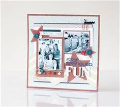 Marching bands, parade floats, candy, and fireworks! Record your star-spangled memories with this scrapbook page featuring the Cricut® Extreme Fonts cartridge!