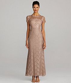 JS Collections Short-Sleeve Lace Gown