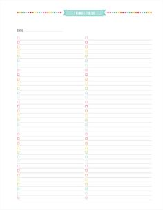 Things to Do Printable PDF Planner Page - instant download