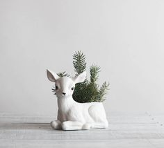 Vintage White Deer Planter / Porcelain Fawn Planter