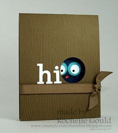 adorable handmade card ... punch art tree hole exposes bird's eyes ... like the woodgrain texture and white die cut HI ... Stampin' Up!