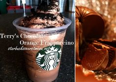 Starbucks Secret Menu Terry's Chocolate Orange Frappuccino! Recipe here: http://starbuckssecretmenu.net/starbucks-secret-menu-terrys-chocolate-orange-frappuccino/
