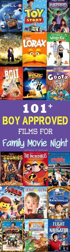101+ Boy Approved Films for Family Movie Night - there are some awesome movies on this list that I'd completely forgotten about! Great resource (and good for girls, too!)!