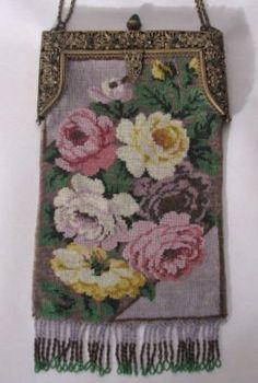 antiqu purs, bead purs, antiqu microbead, microbead floral, floral purs, awesom handbag, vintag handbag, vintag purs, antiques