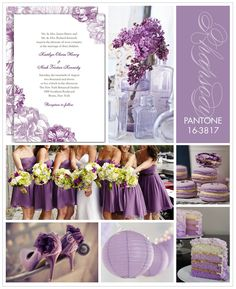 Pantone color theme:  Rhapsody Inspiration Board ( love the colored layers of the cake to coordinate with the overall color theme)