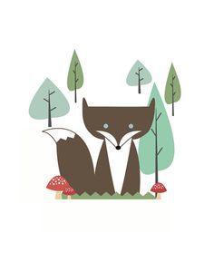 Forest Fox   jenimdesign via Etsy