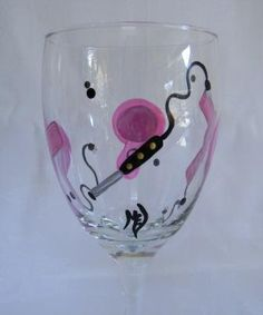 Wine glass hand painted for hairdresser with by Morningglories1