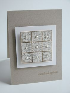 handmade card ... kraft and white ... popped layers ... neutral & elegant look ... 9 square inchie grid  of stamped stiles ... sweet pearl at the center of each square ... luv the clean lines ... Paper Trey Ink