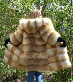 hooded red fox fur coat