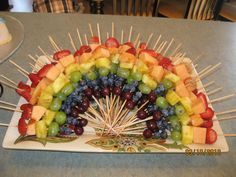Rainbow Fruit Kabobs from Olivia's Baby Shower
