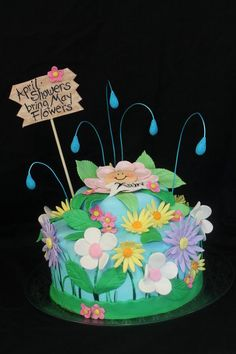 april showers cake, baby shower cakes, flower cakes, fondant cake, shower idea, flower babi, may flowers, babi shower, baby showers