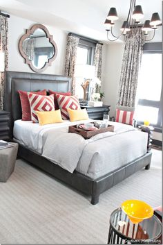 HGTV 2014 Dream Home - wrap box spring in fabric or build a low frame such as this, build headboard, put mirror above headboard.