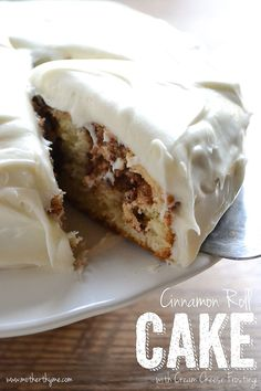 Cinnamon Roll Cake with Cream Cheese Frosting | www.motherthyme.com