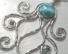 Octopus Larimar Sterling Silver Necklace