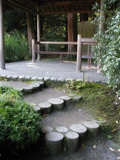 Cool steps! In Japanese Garden in Seattle. Photo by Taryn Koerker  see pin with leave form imbedded in top