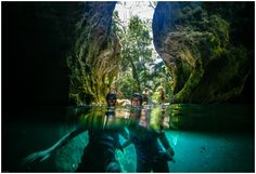 Swimming in the caves of Actun Tunichil in Belize! #adventure #xoBelize