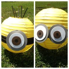 minion party ideas - Google Search classroom decor, yellow paper, birthday parties, paper lantern, minion parti, minion decorations, parti idea, eye, minions decoration