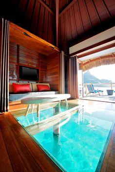 Glass floor bungalow in Bora Bora.