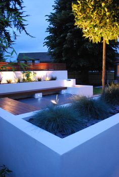 Bench seating, planters, lighting