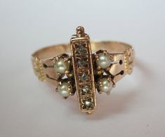Victorian 5 rose cut diamonds and 4 pearls gold ring