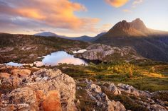 Sunset over the jagged peaks of Cradle Mountain and the Twisted Lakes, Tasmania