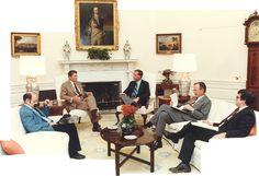 Photo of President Ronald Reagan and Cabinet with Congressman Robert Lagomarsino.