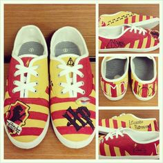FOR SALE!  Handmade Harry Potter Gryffindor LaceUp Tennis Shoes by AccioFandoms, $35.00
