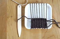 WEAVING Tutorial: Coasters, Hot pads, Placemats, Rugs, Etc. ~ To keep yarn evenly spaced, slight notches can be cut in styrofoam tray at each end, using a ruler to check spacing; this will hold the yarn in place.  A piece of heavy cardboard can also be used.