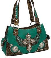 Turquoise Fashion Cross Purse w/Rhinestone at www.handbagsblingmore.com