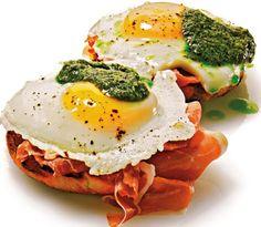 parma ham, green egg