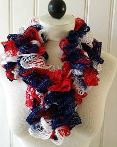 Patriotic Ruffled Scarf Free Crochet Pattern from Maggie's Crochet