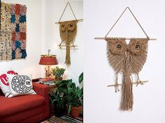 Macrame owl wall hangings