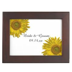 Yellow #Sunflower #Wedding #Keepsake #Box The pretty Yellow Sunflower Wedding Keepsake Box makes a thoughtful gift idea for an engagement party, bridal shower or wedding. This elegant custom floral wedding keepsake box features yellow sunflowers adorning the corners with a white background. Perfect for the couple who have planned a classy June, July or August summer or September, October or November fall sunflower wedding theme. #sunflowerwedding