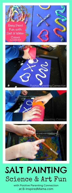 Have you ever explored art and science together with your kids? Try salt painting with salt and watercolors like Ariadne of Positive Parenting Connection did at B-InspiredMama.com.