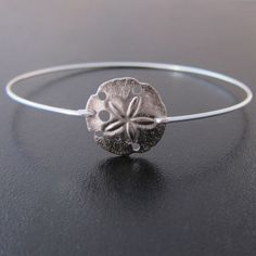 Sand Dollar Bracelet - Silver Sand Dollar Beach Charm Bangle Bracelet, Beach Themed Wedding Bridesmaid Gifts, Beach Bridesmaid Jewelry
