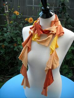 Orange Ruffle T-shirt Scarf by mk_safire, via Flickr