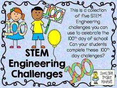 STEM Engineering Challenge Pack ~ The 100th Day of School  $  100 Cup Stacking Challenge 100 Pennies Foil Boat Challenge 100 Toothpick Tower Challenge 100 Building Blocks Challenge 100 Gram Bridge Challenge