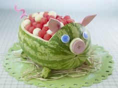 piggy  food displays, piggy party, pig roast, fruit bowls, watermelon carving, fruit animals, watermelon pig, kid parties, kid summer